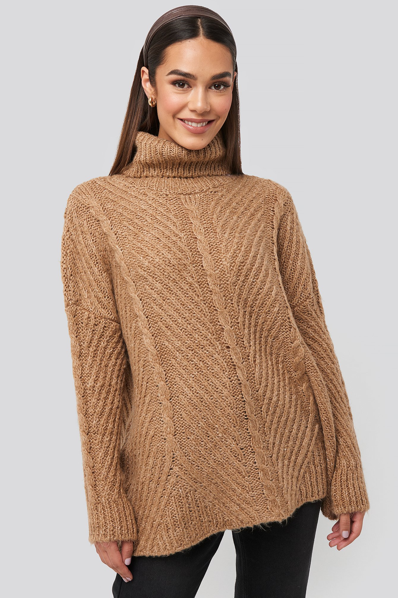 Camel Turtleneck Long Knitted Sweater