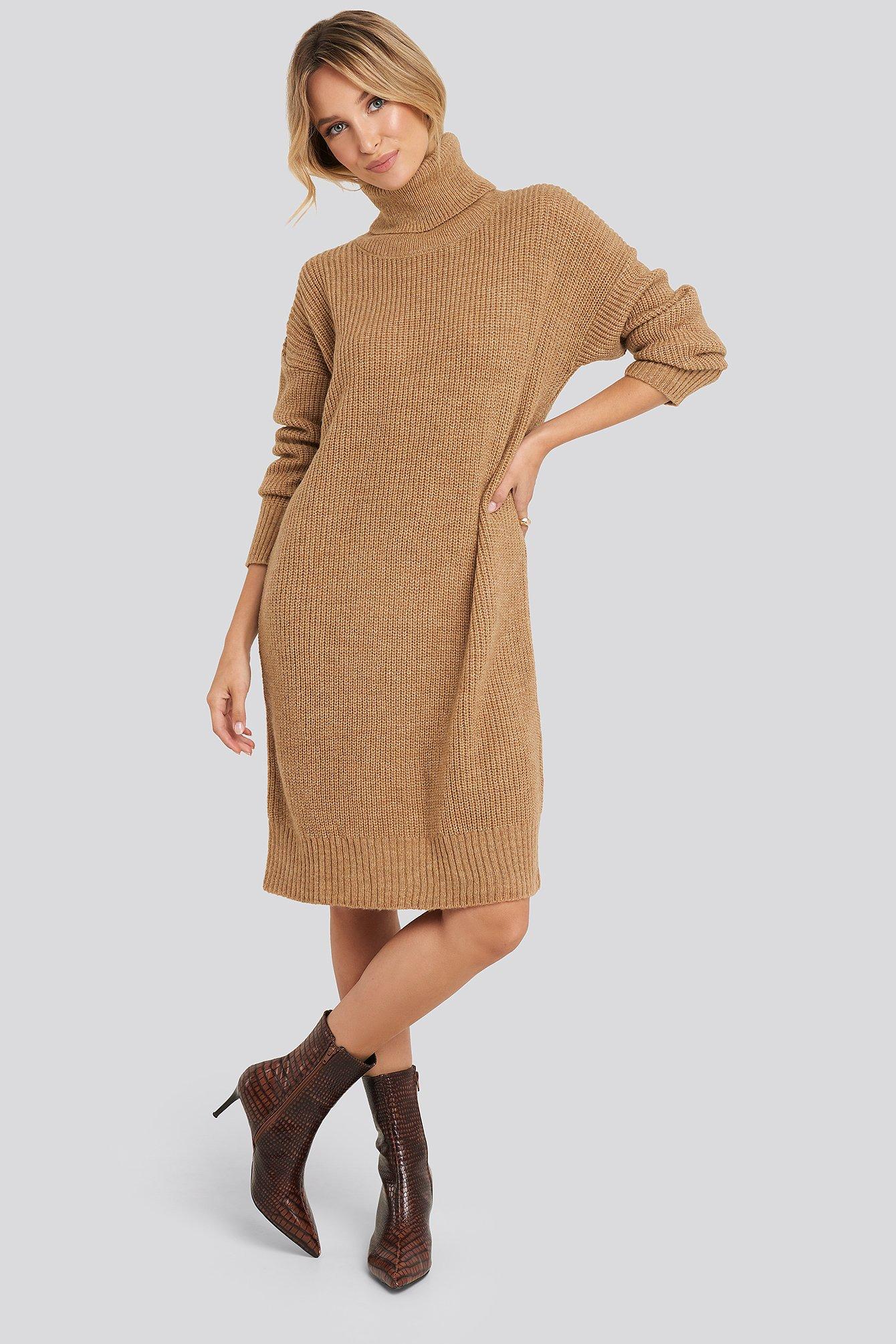 Turtleneck Oversize Knitted Dress Beige by Trendyol