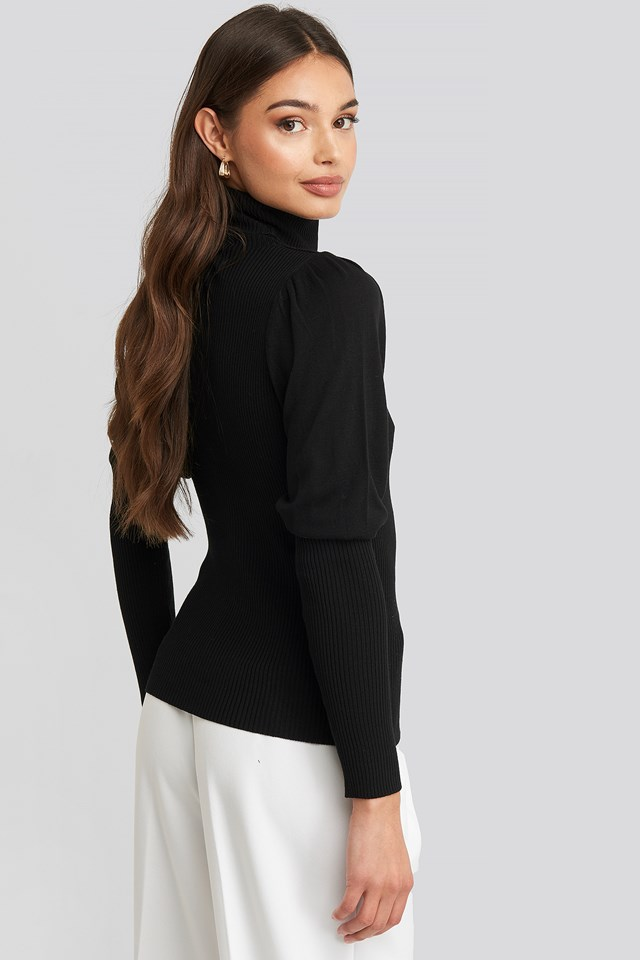 Turtleneck Sleeve Detailed Sweater Black