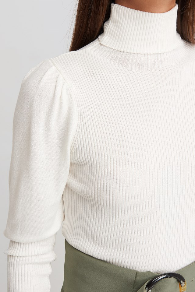 Turtleneck Sleeve Detailed Sweater Ecru