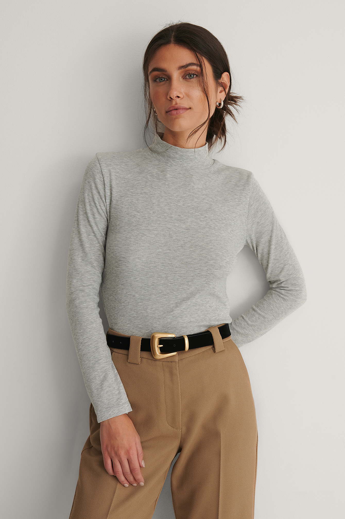 Gray Turtleneck Top