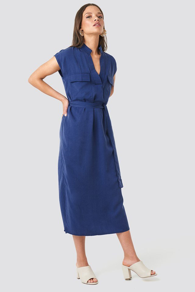 Tying Sky Midi Dress Indigo