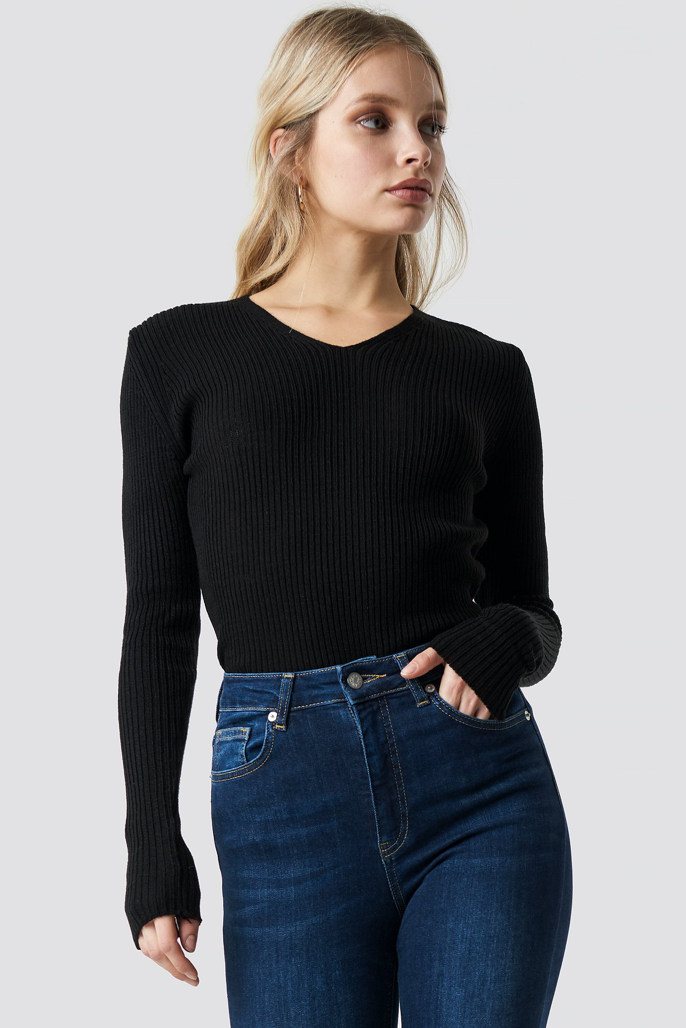 V-Neck Basic Knitted Pullover NA-KD.COM