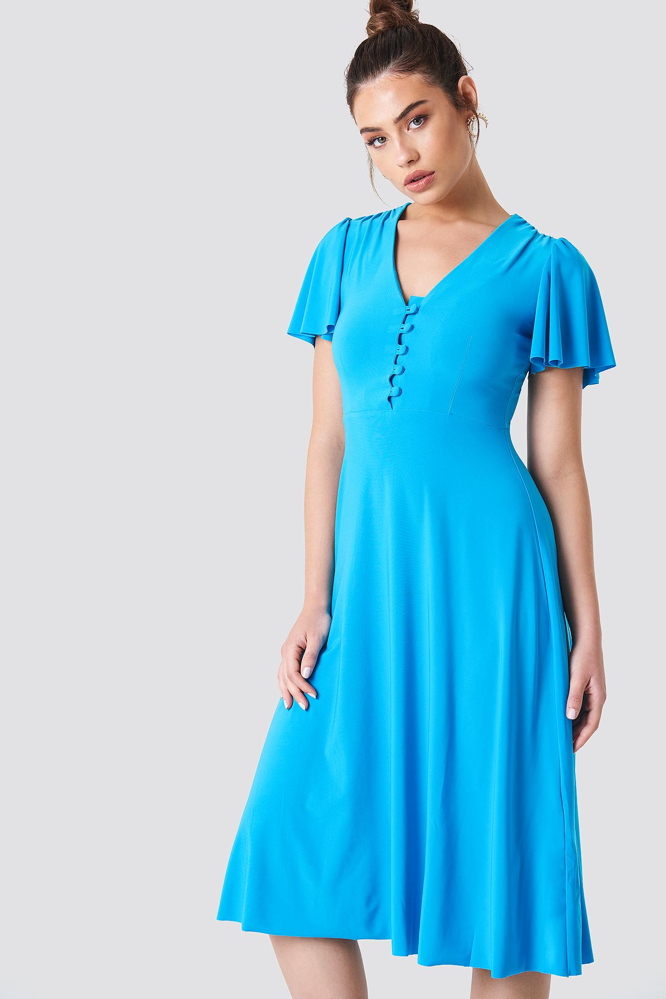 V-Neck Buttoned Dress NA-KD.COM