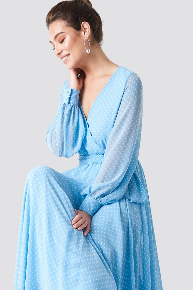 Sukienka maxi z dekoltem V Blue