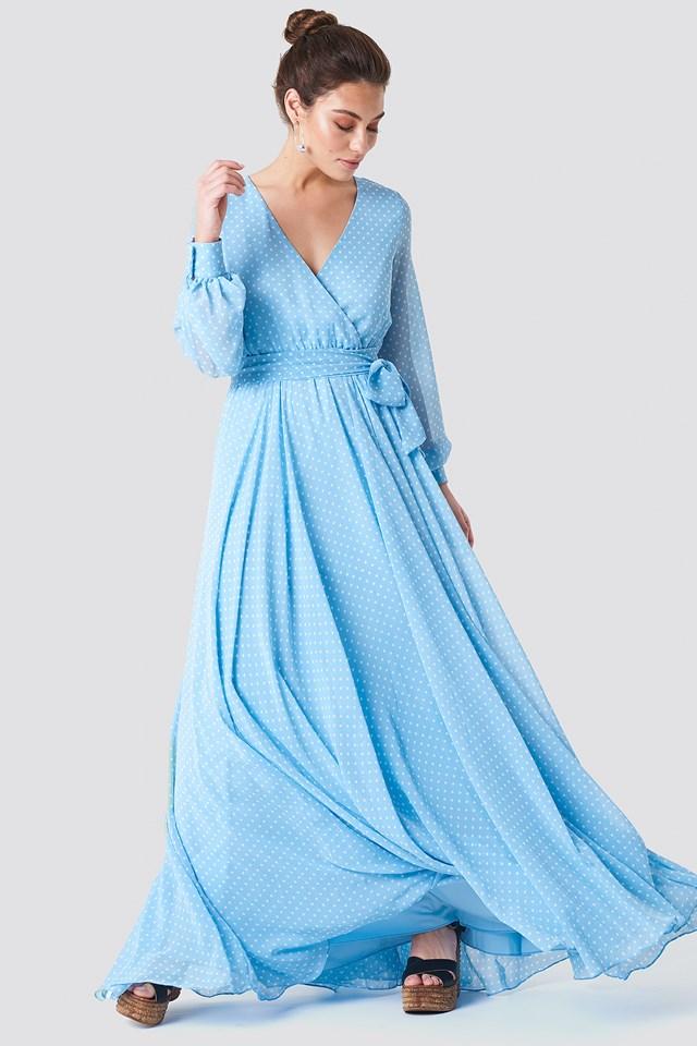V-Neck Maxi Dress Blue