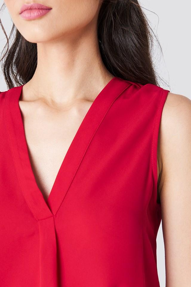 V-neck Blouse Red