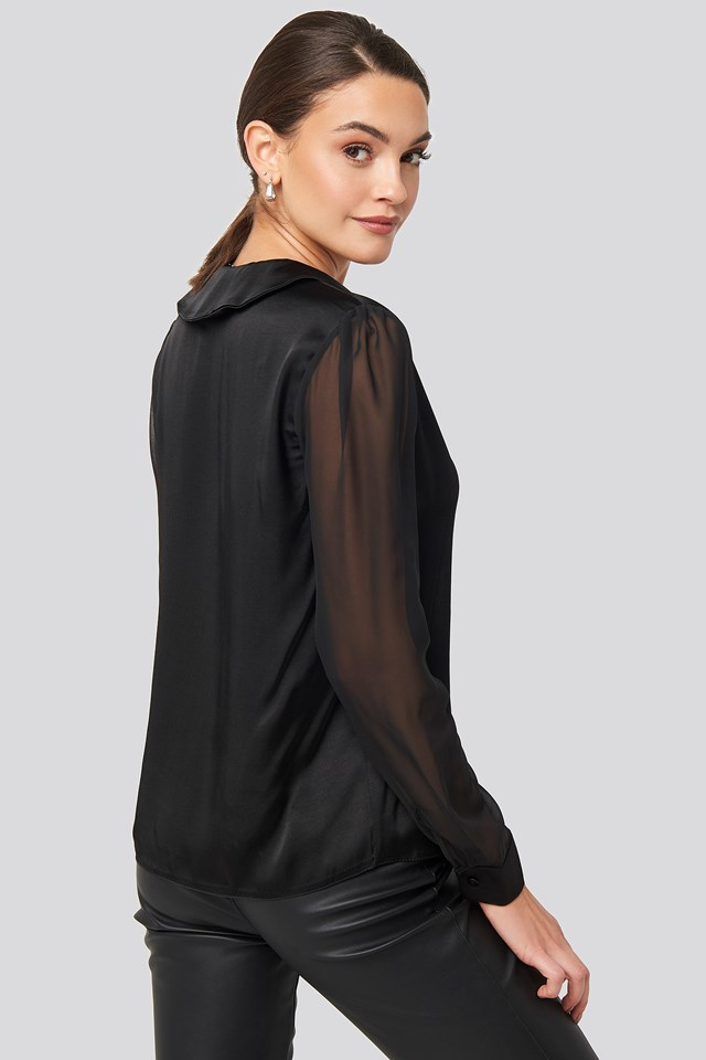 V-Neck Collar Detailed Shirt Black