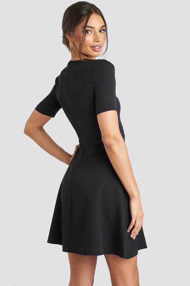 V-Neck Front Button Mini Dress Black