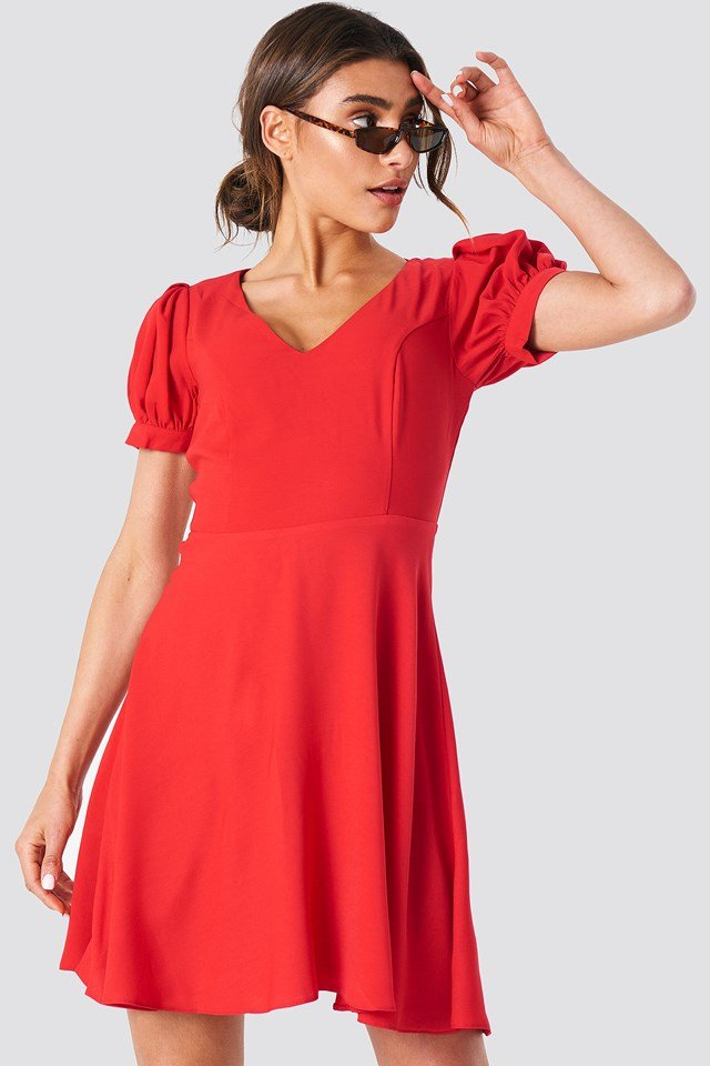 V Neck Mini Dress Trendyol