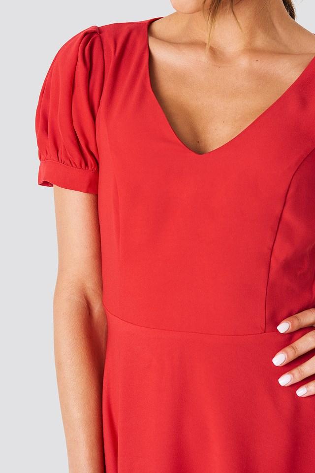 V Neck Mini Dress Red
