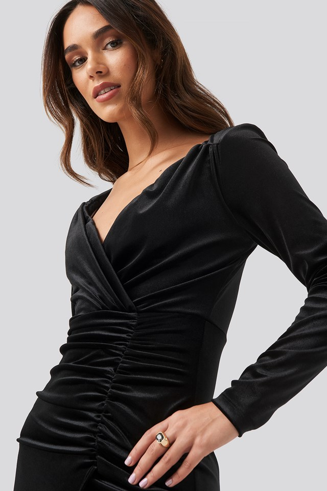 Velvet Drape Detailed Mini Dress Black