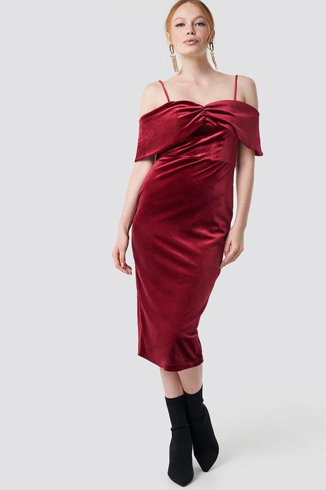 Velvet Evening Dress Burgundy