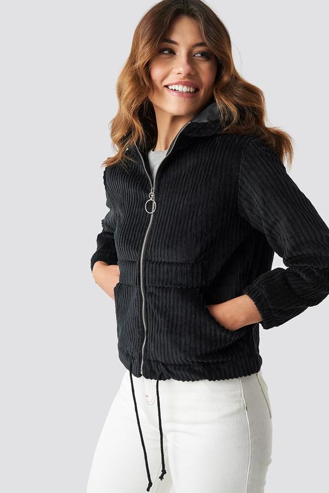 Velvet Hooded Jacket Black