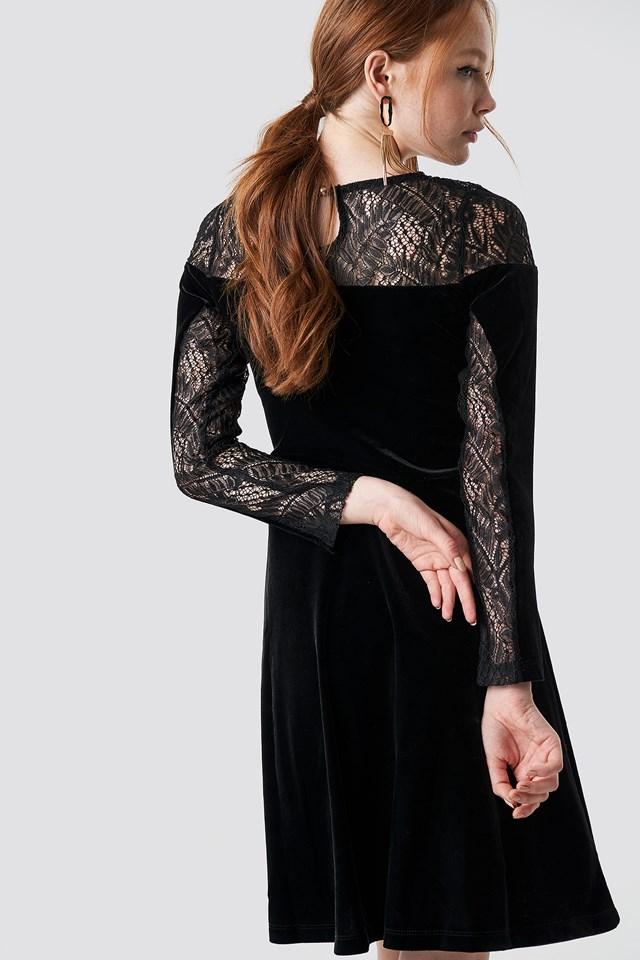 Velvet Lace Detailed Evening Dress Black