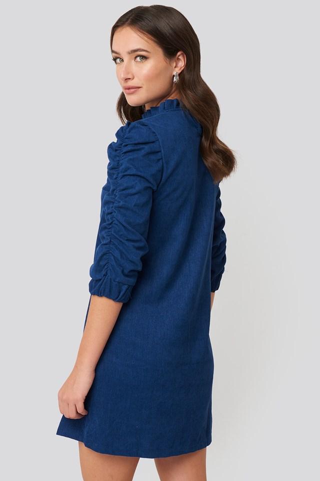 Velvet Ruffle Detail Mini Dress Indigo