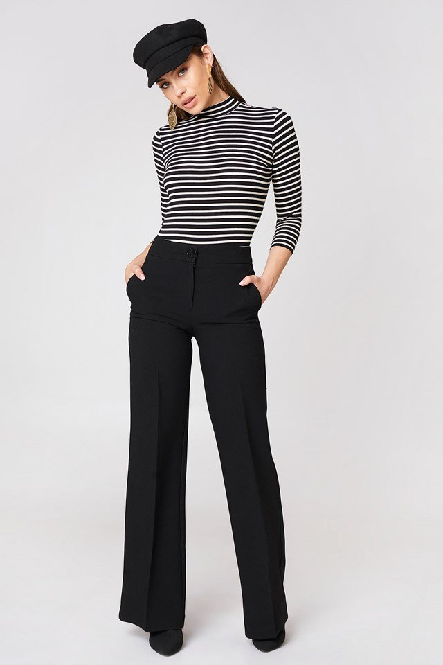 Vertical Collar Stripe Sweater Black