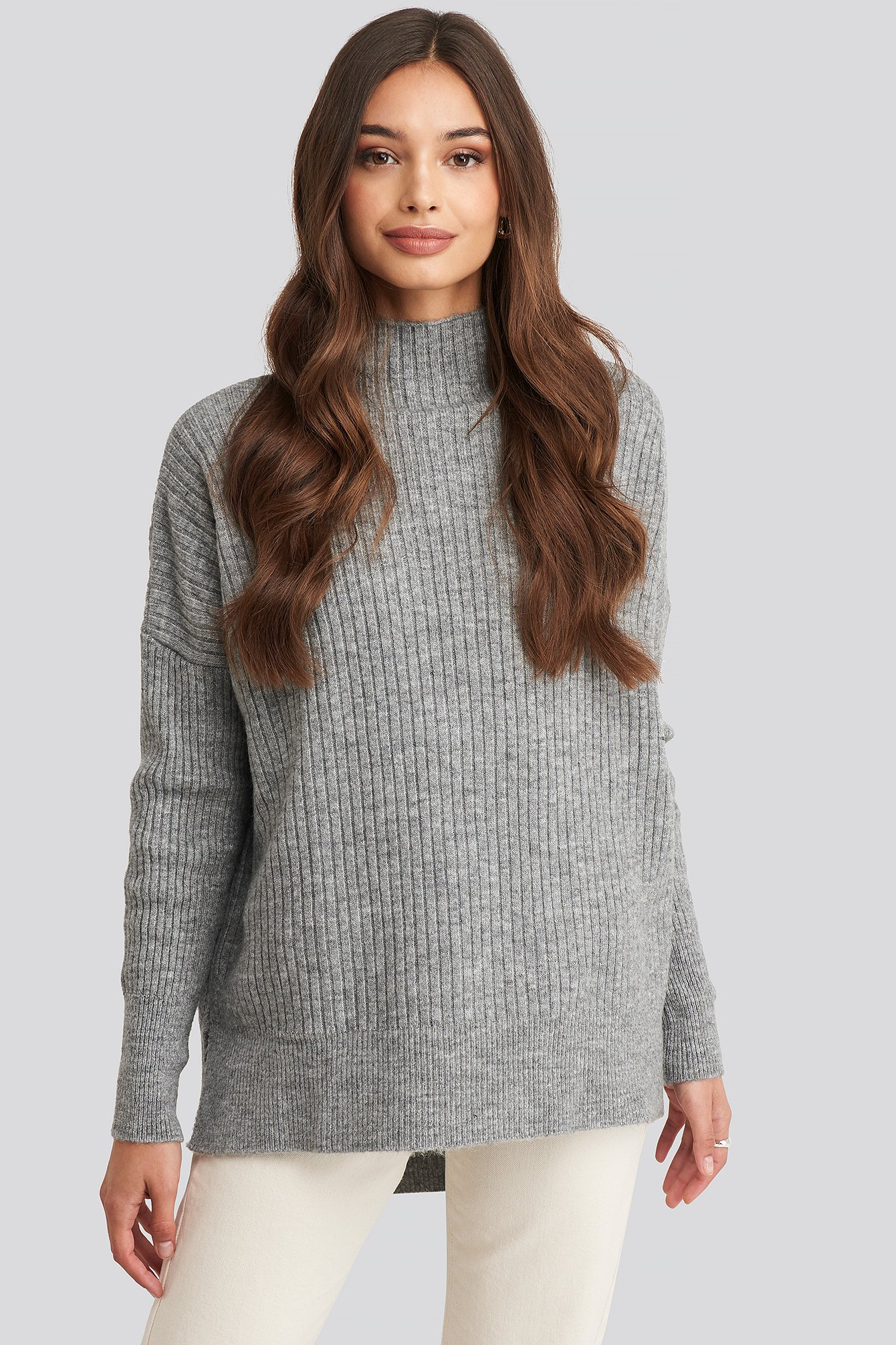 Trendyol Vertical Neck Knitted Sweater - Grey