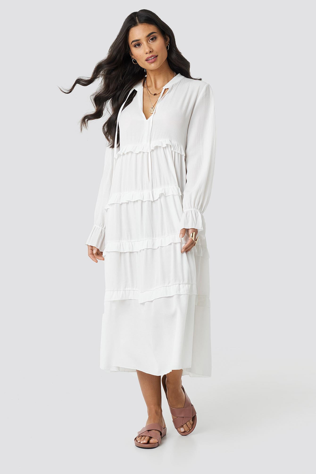 34f184b8e70 Viscose Ruffle Detail Long Dress Ecru