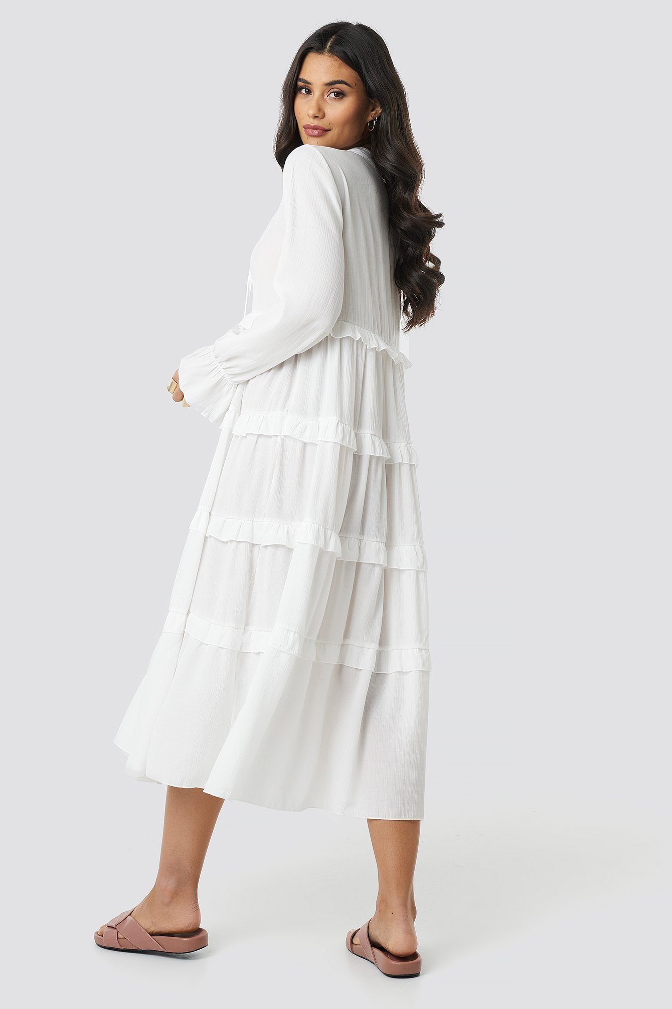 Viscose Ruffle Detail Long Dress NA-KD.COM