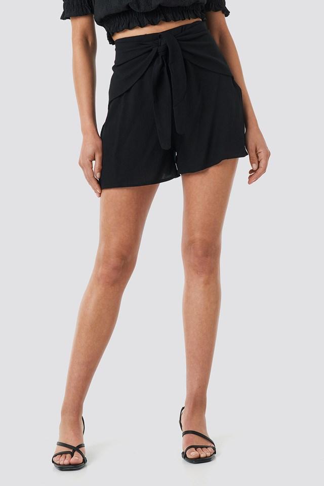 Viscose Waist Bound Shorts Black