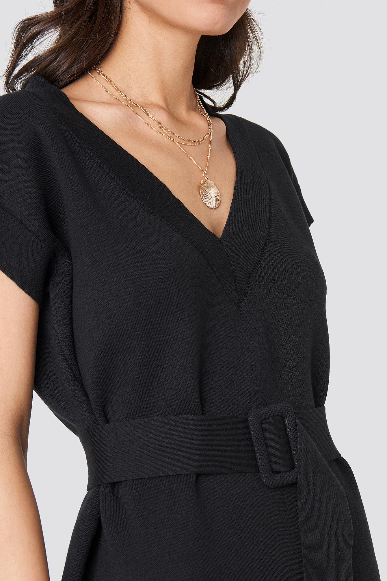 V Neck Belted Mini Dress NA-KD.COM