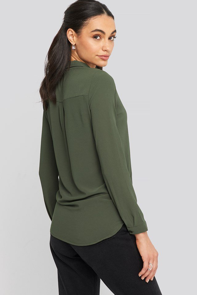 V-Neck Collar Blouse Khaki
