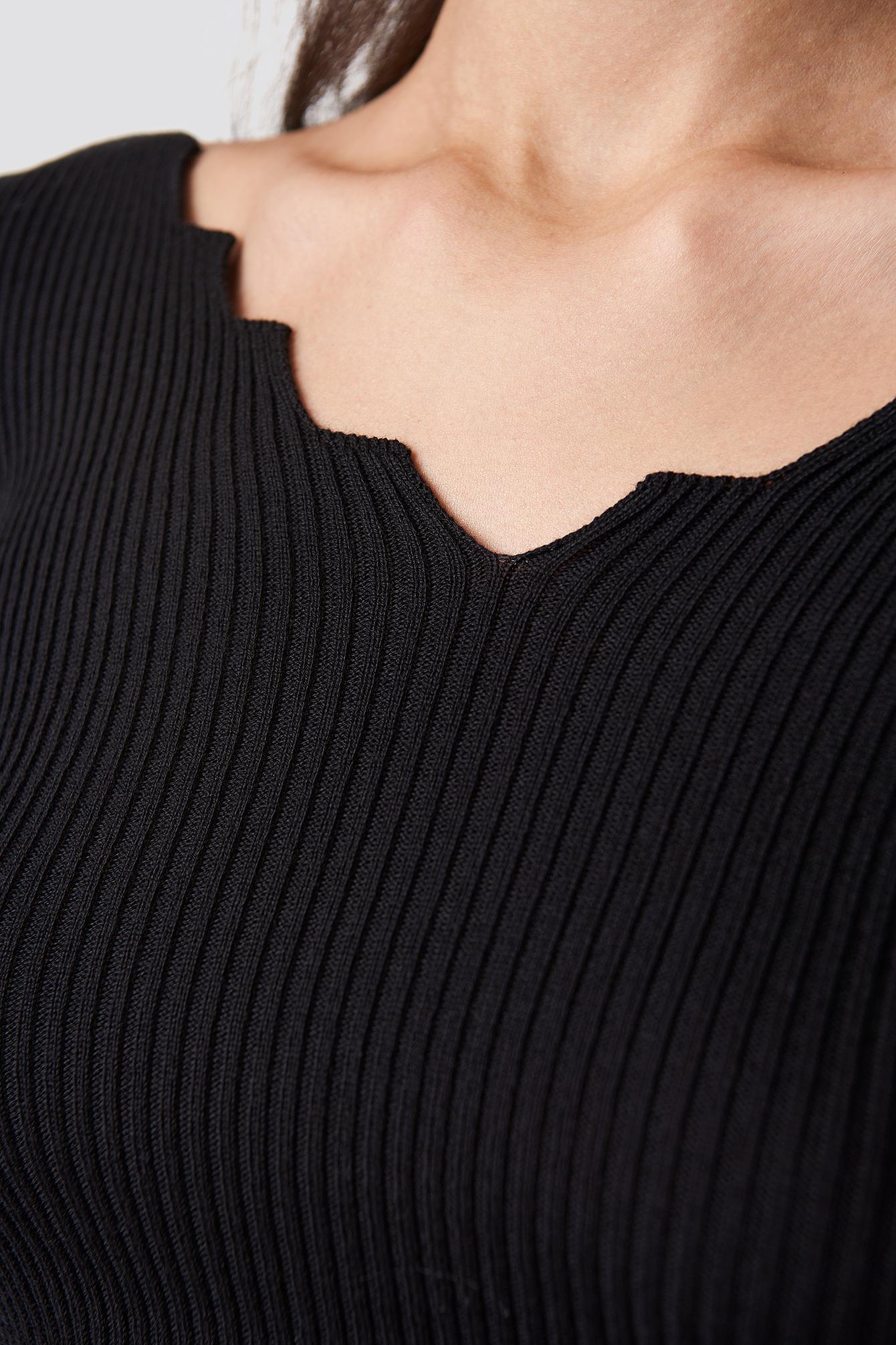 V-Neck Sleeve Detailed Sweater NA-KD.COM