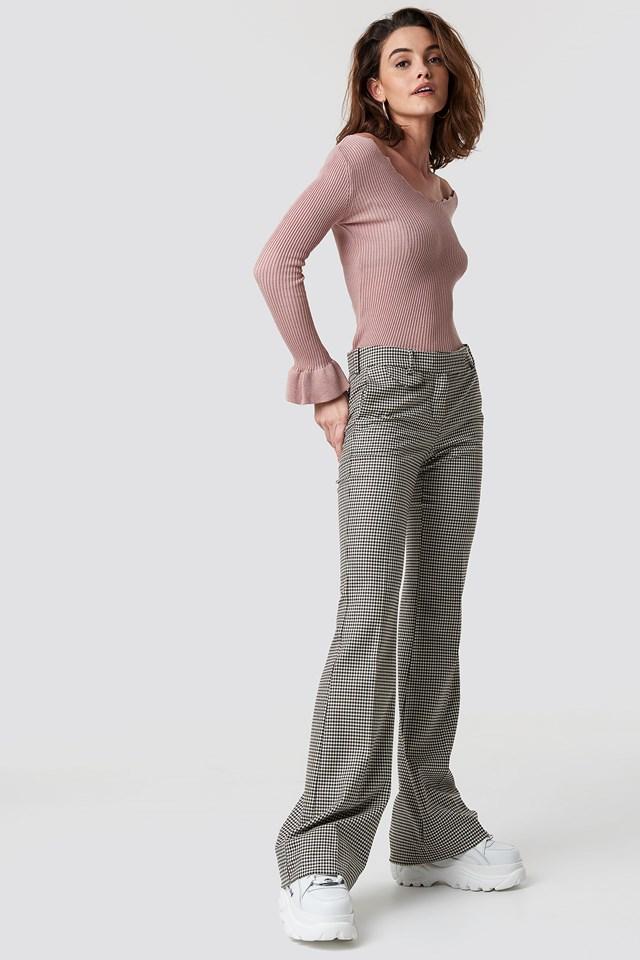 V-Neck Sleeve Detailed Sweater Powder Pink