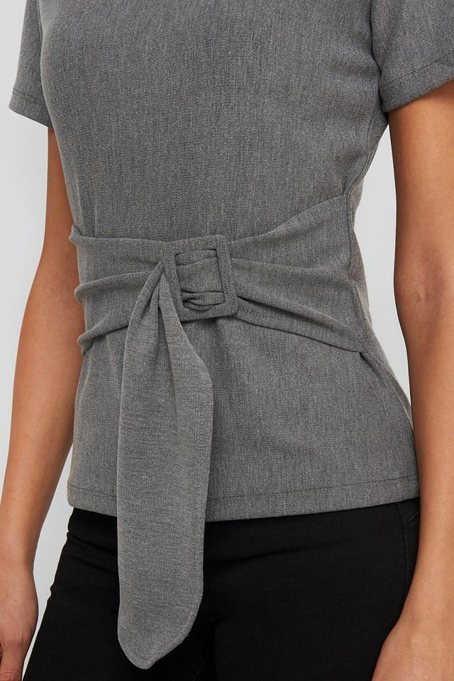 Waist Belt Detailed Top Gray