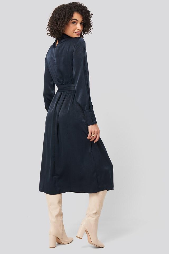 Waist Belted Midi Dress Navy