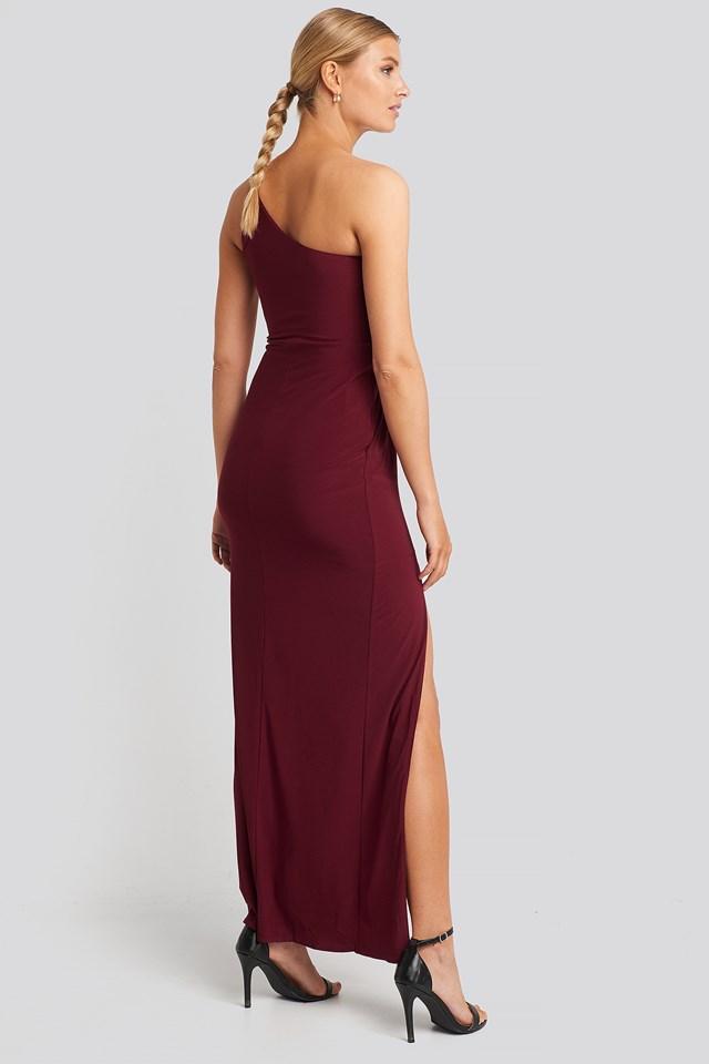 Waist Detail Draped Evening Dress Burgundy