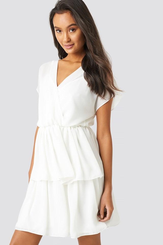 Waist Detail Mini Dress Ecru