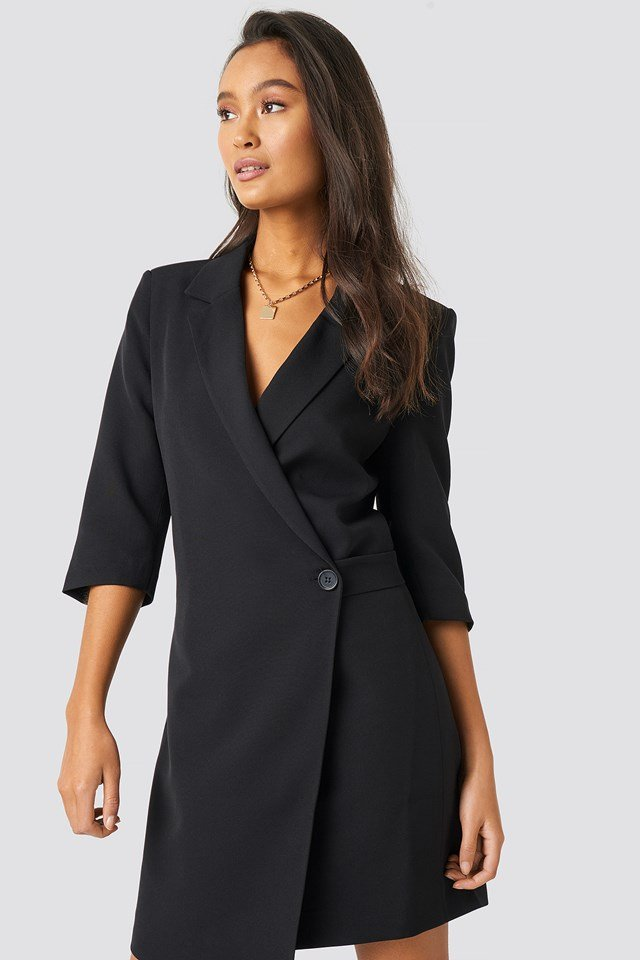 Waist Detailed Jacket Dress Black