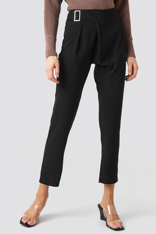 Waist Detailed Trousers Black