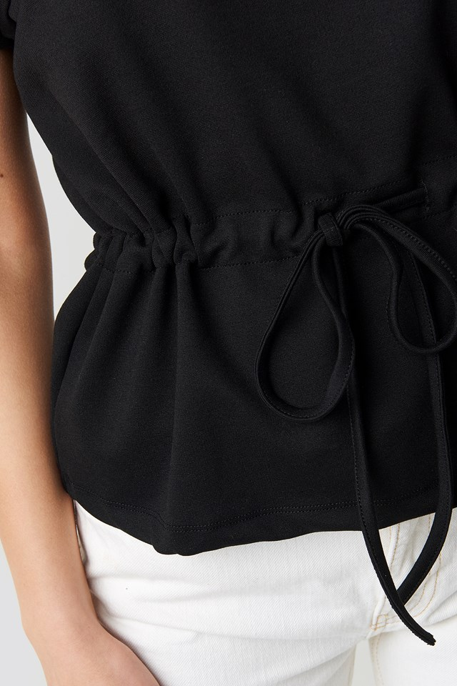 Waist Drawstring Blouse Black