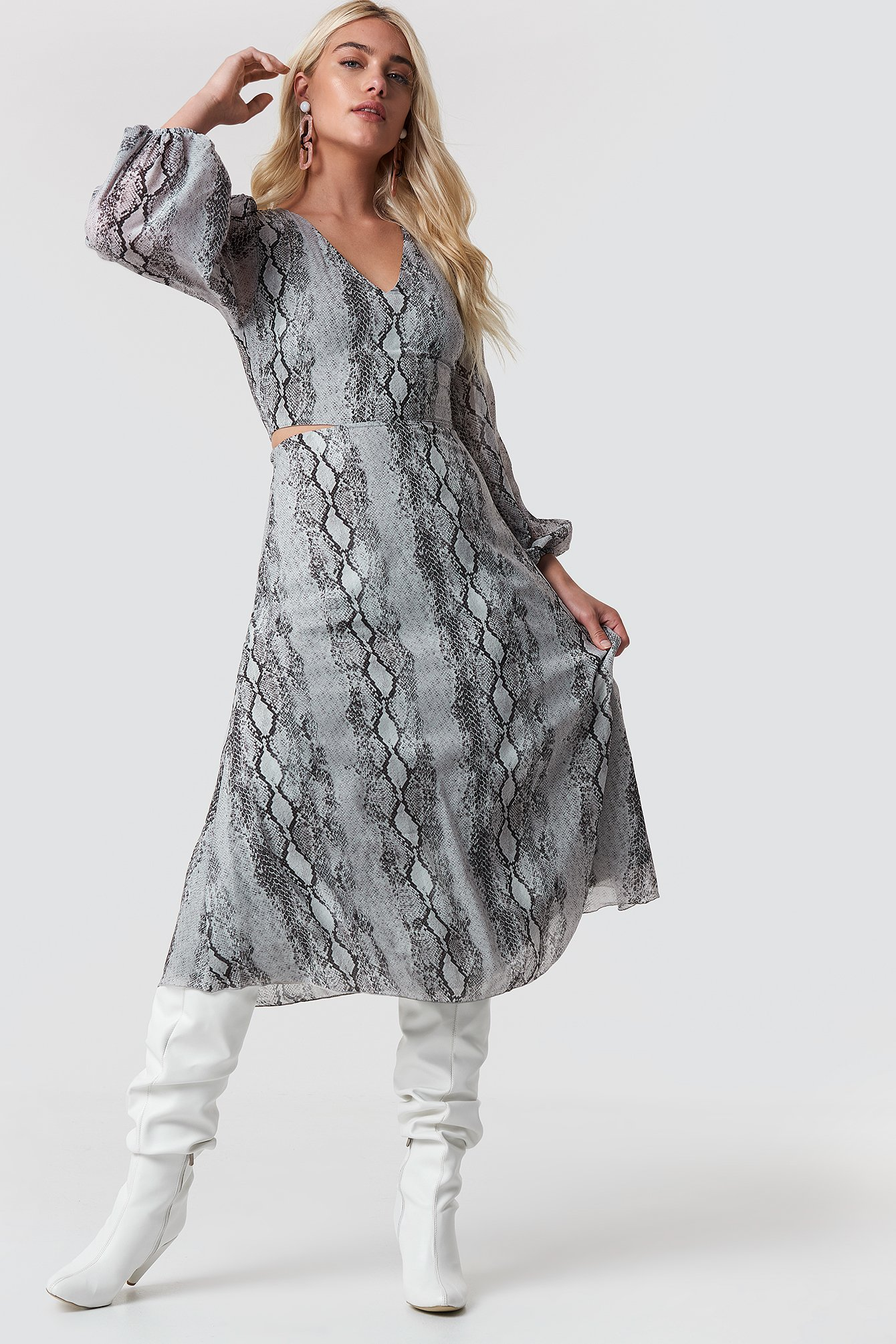 trendyol -  Waist Lining Dress - Grey
