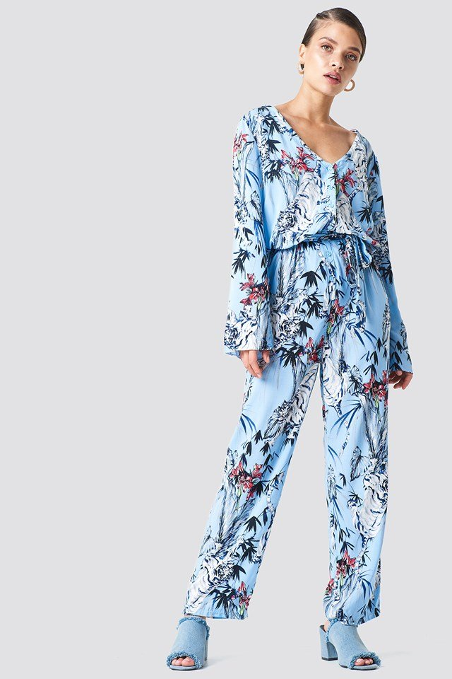 Tie Waist Patterned Jumpsuit Blue