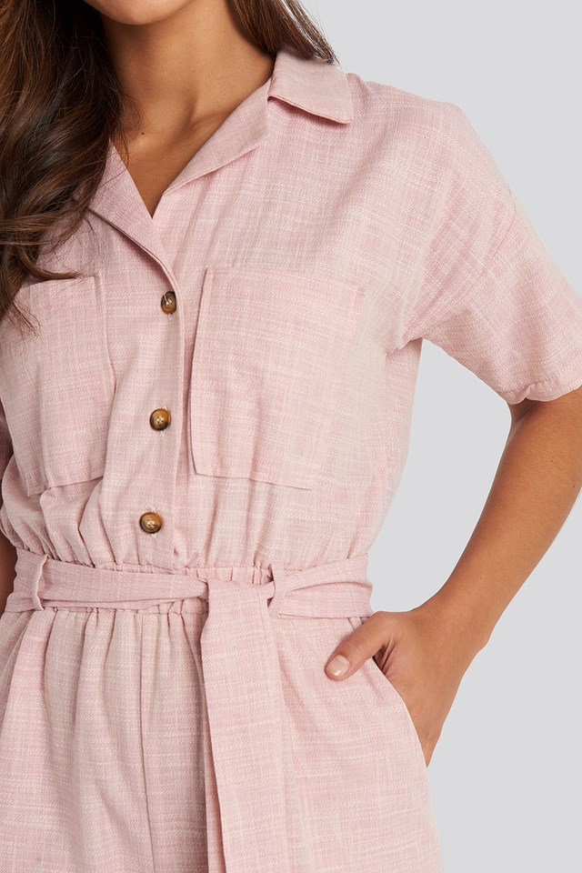 Waistband Belted Playsuit Powder Pink
