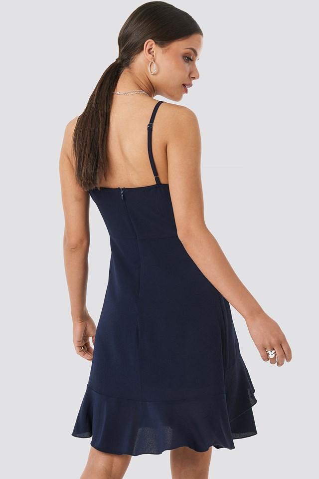 Wavy Ruffle Mini Dress Navy