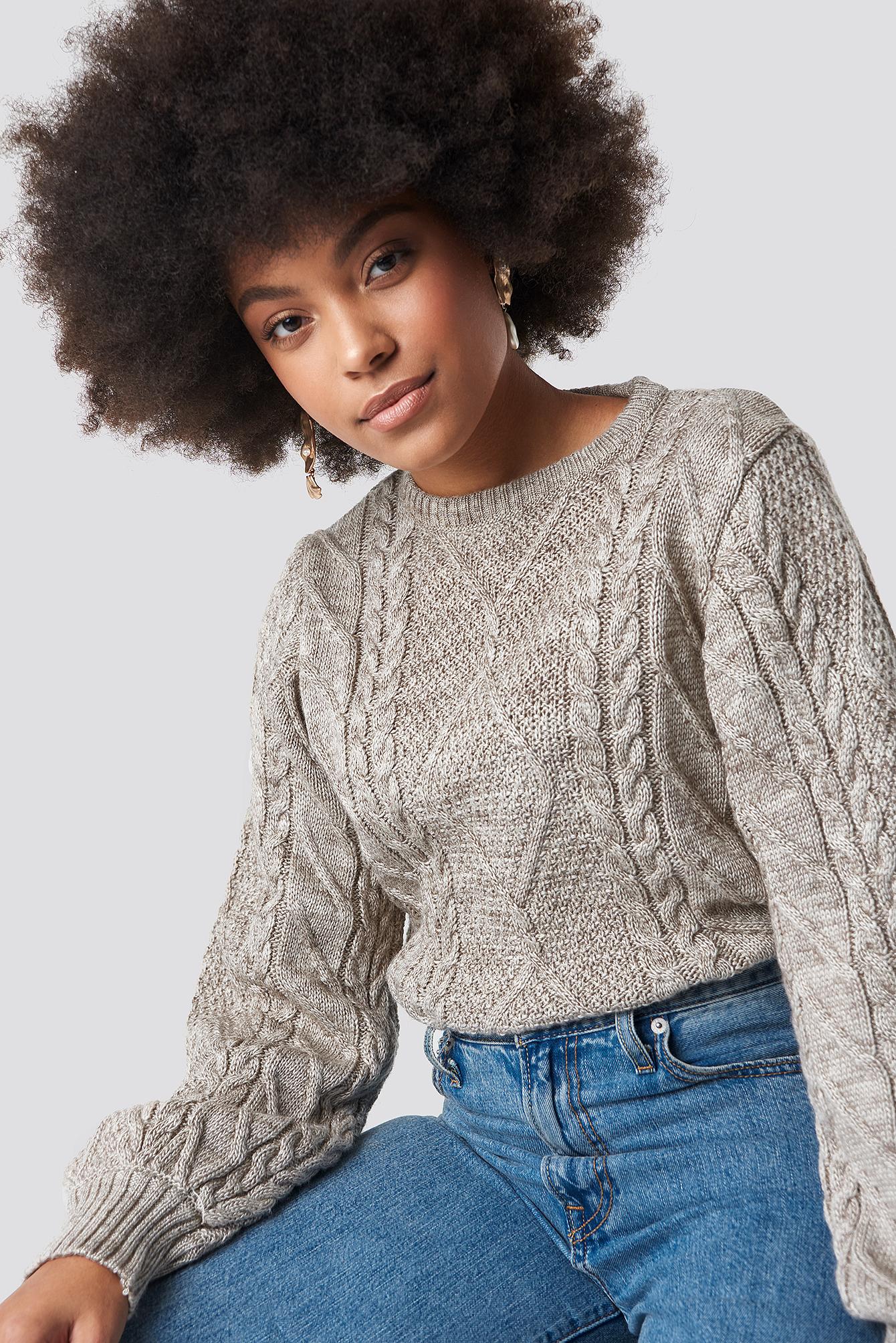 trendyol -  Weave Detailed Sweater - Beige