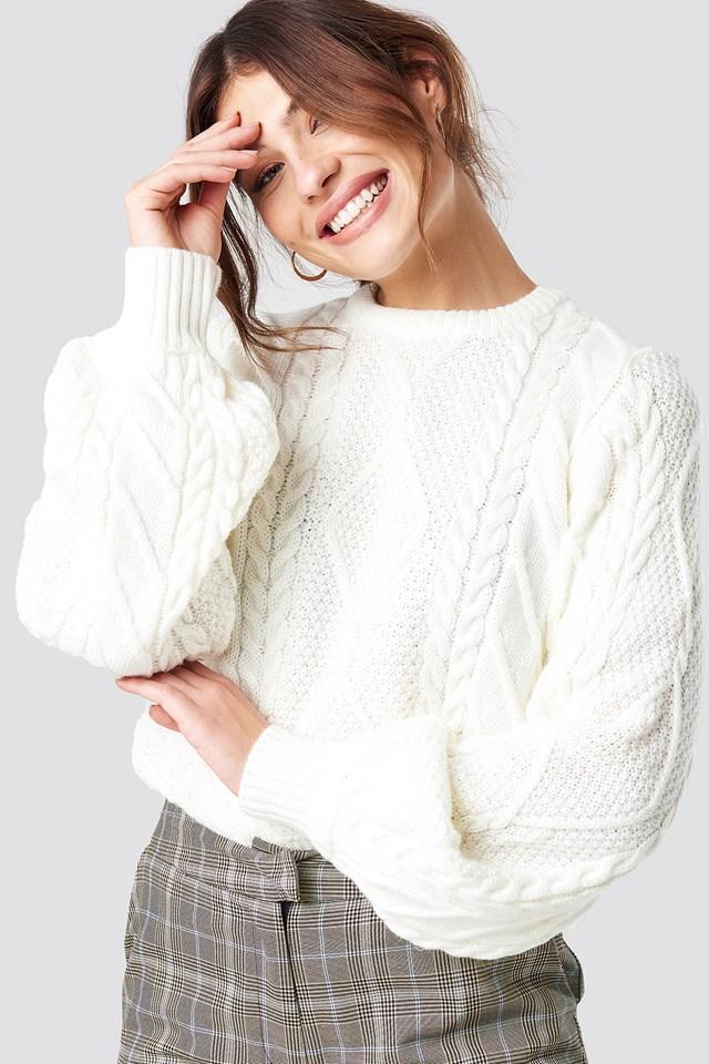 Weave Detailed Sweater Ecru