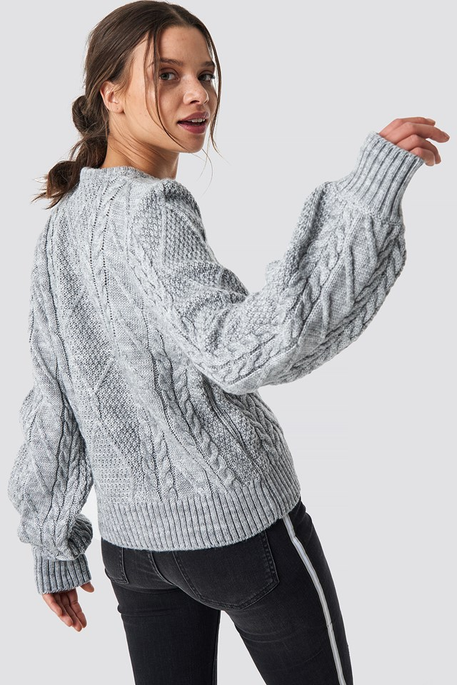 Weave Detailed Sweater Gray
