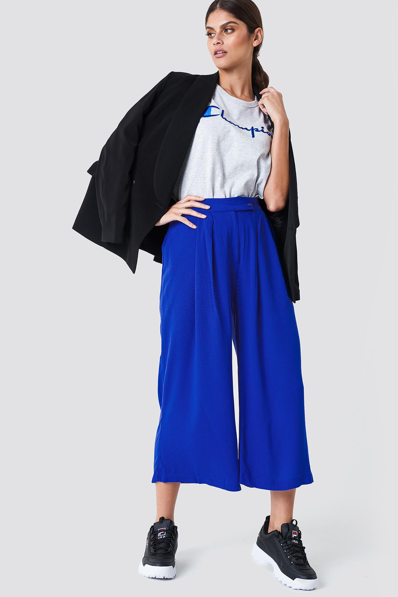 trendyol -  Wide Short Leg Pants - Blue