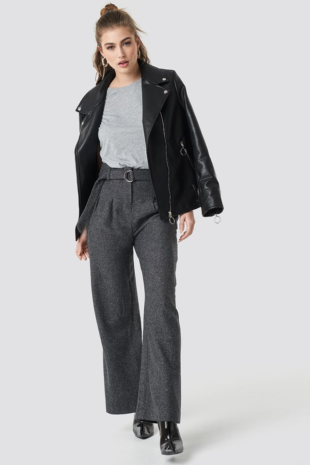 Wide Belted Trousers Antracit