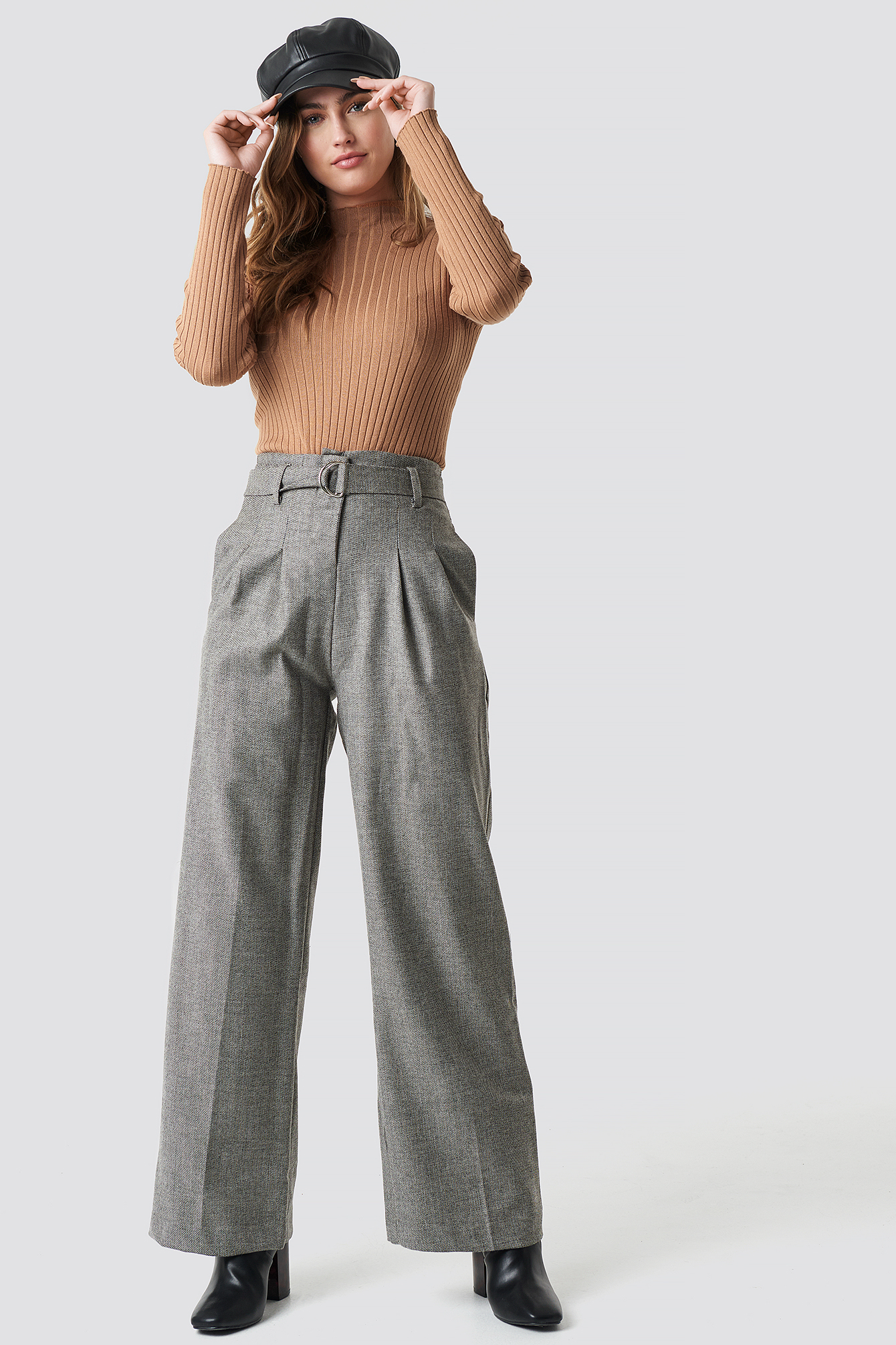 trendyol -  Wide Belted Trousers - Grey