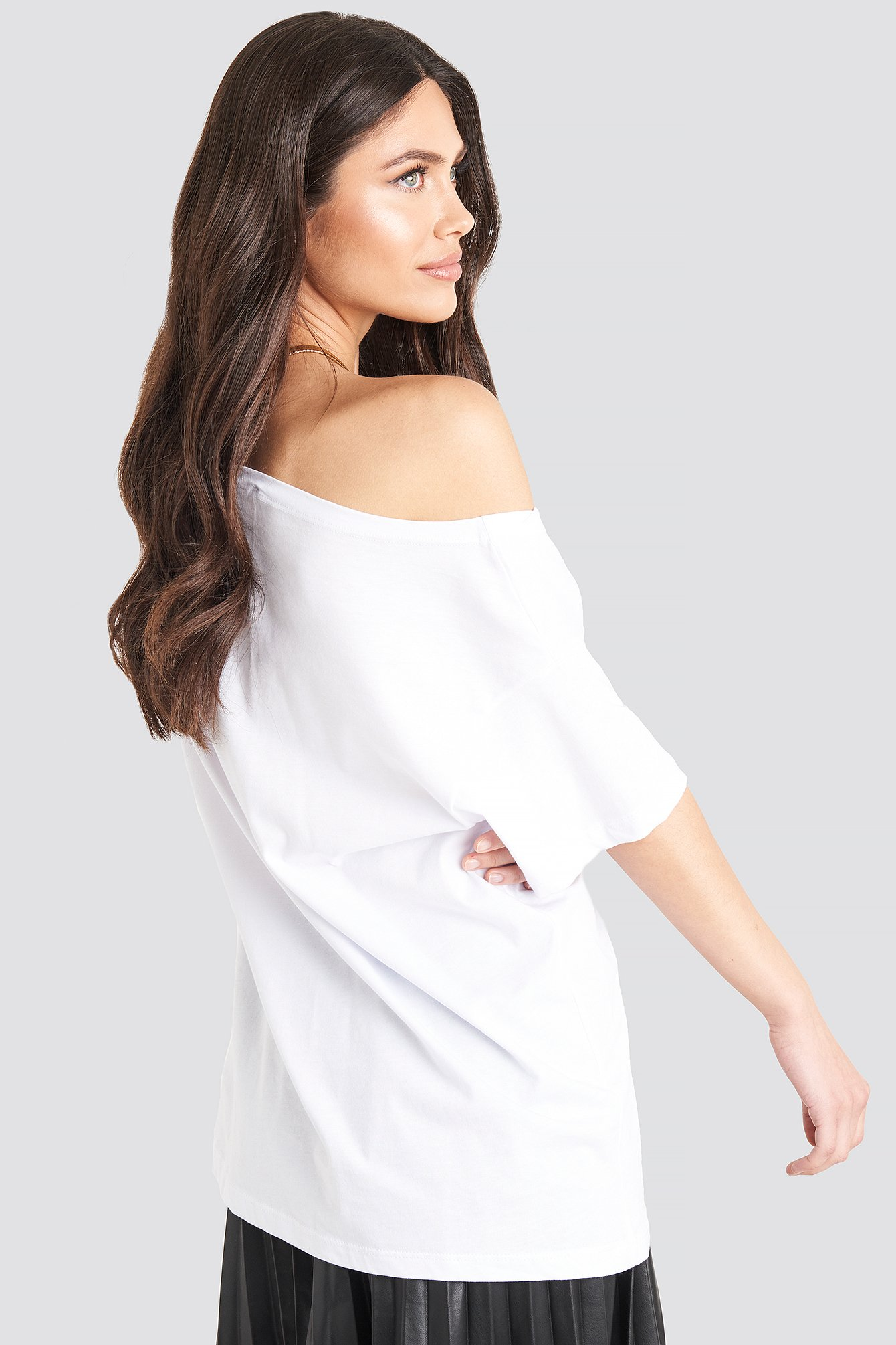 White Wide Neck Boyfriend Tee