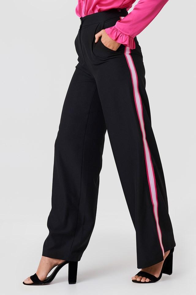 Wide Side Striped Pants Black