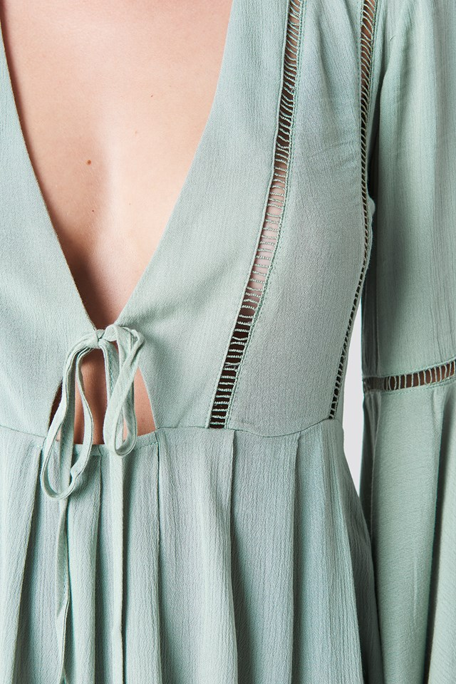 Wide Sleeve Mini Dress Green