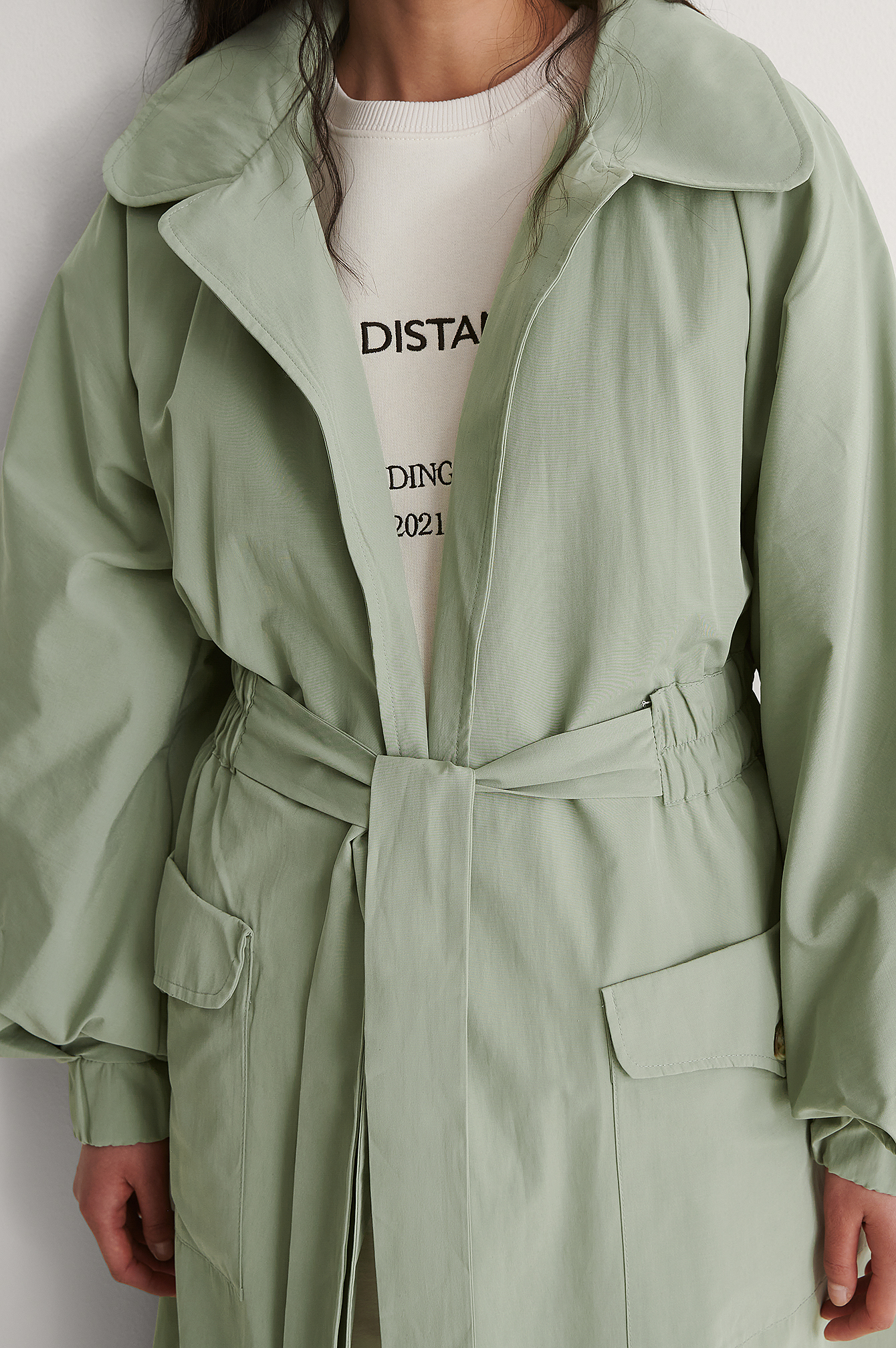 Light Khaki Weiter Ärmel Trenchcoat